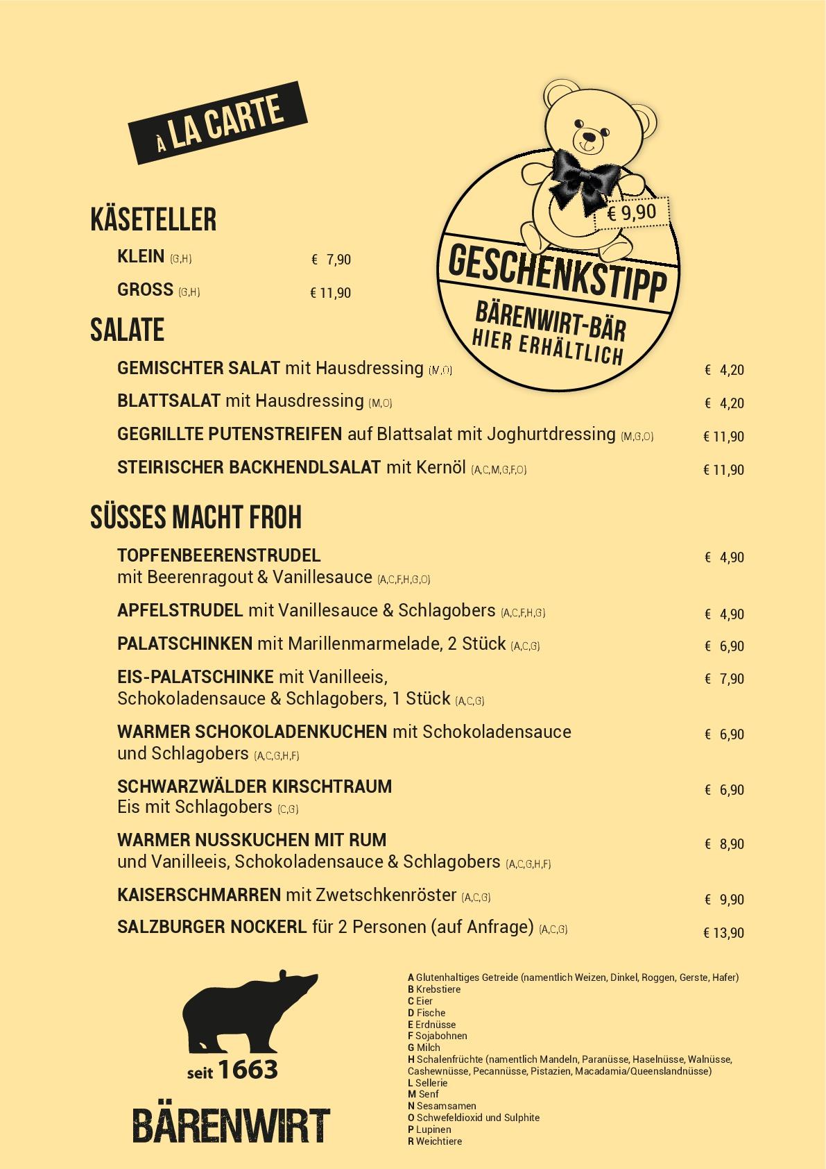 Меню ресторанаBärenwirt