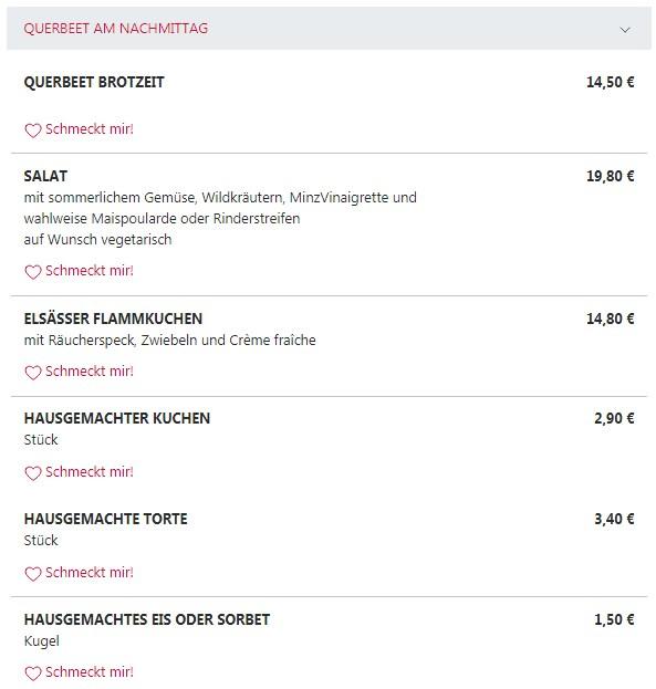 Меню ресторанаQuerbeet