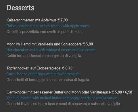 Меню ресторанаZum Zirkelwirt