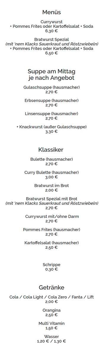 Меню кафе Der Wurstler