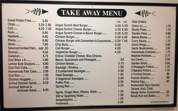 Меню ресторана Fishers Fish and Chips