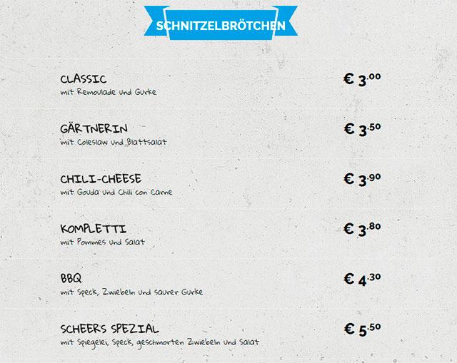 Меню кафе Scheers Schnitzel