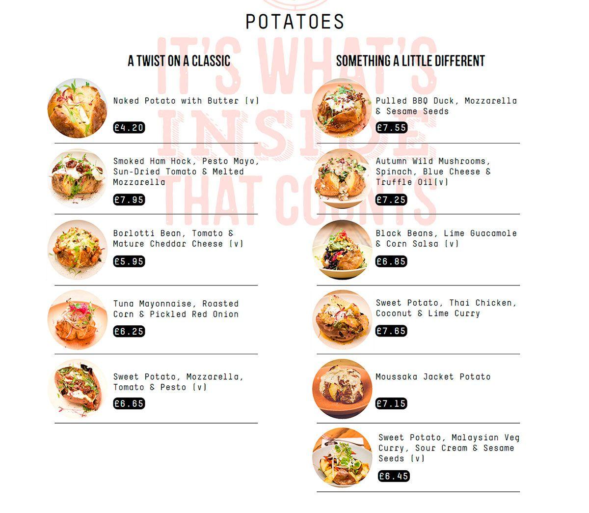 Меню ресторана The Potato Project