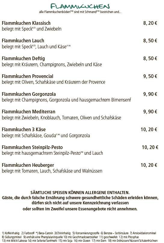 Меню кафе Wirtshaus Heuberger