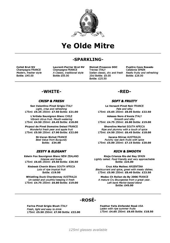 Винная карта паба Ye Olde Mitre