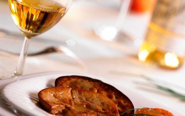 Сладкое немецкое вино с фуа-гра