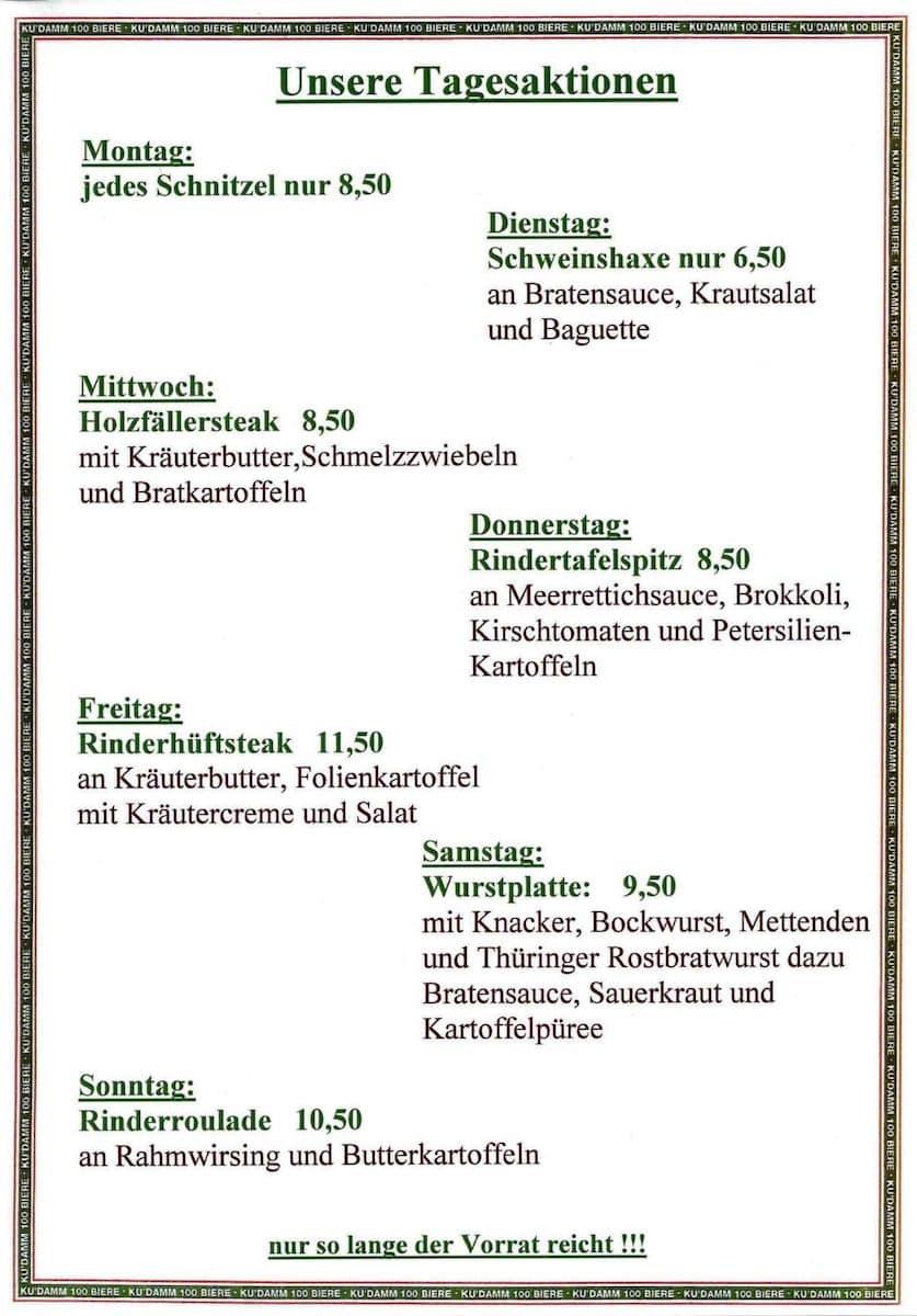 Меню ресторана Das Haus der 100 Biere