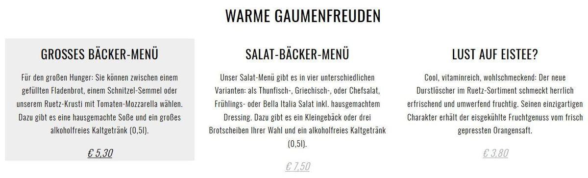 Меню ресторана Der Bäcker Ruetz