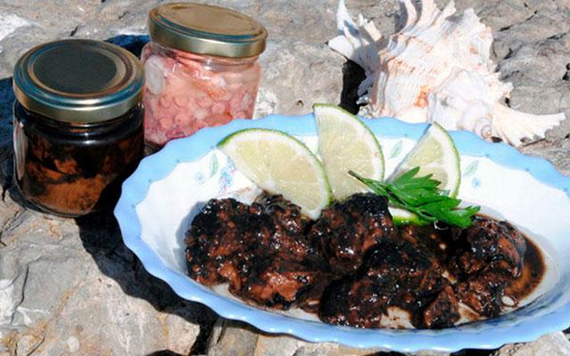 Жареные чернильные мешочки осьминога