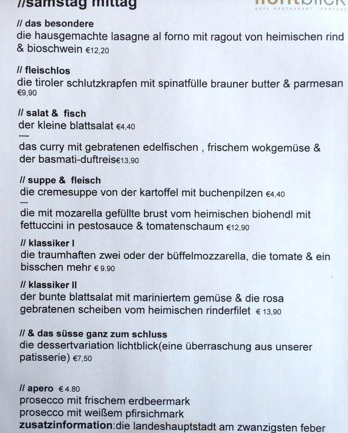 Меню ресторана Lichtblick