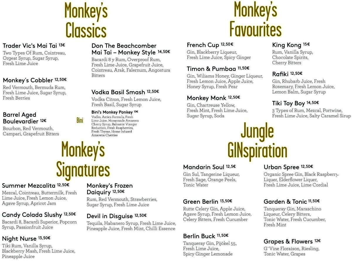 Меню бара Monkey Bar