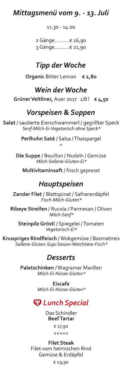 Меню ресторана Schindler