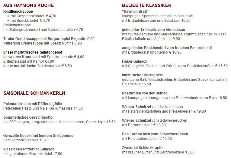 Меню ресторана Traditionsgasthaus Riese Haymon