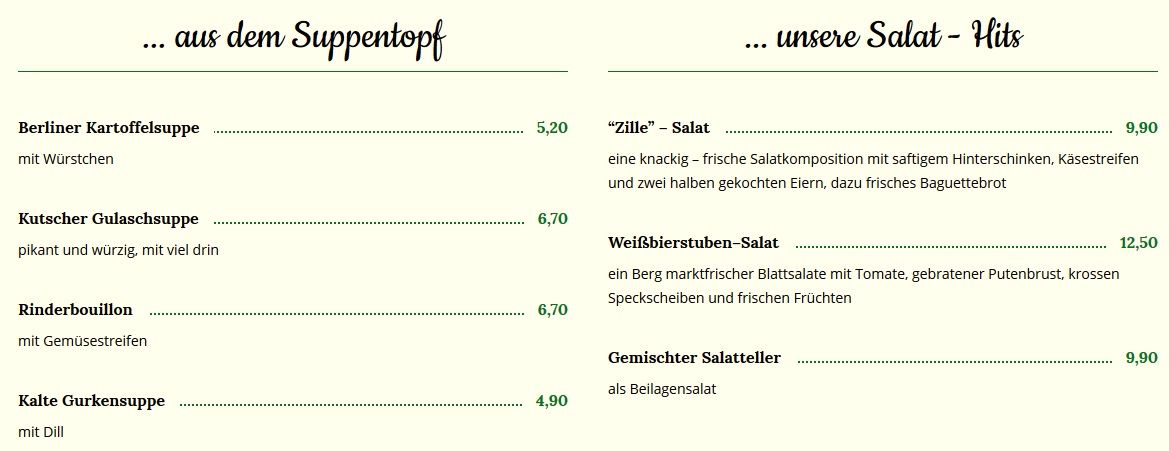 Меню пивного ресторана Altberliner Weiβbierstube