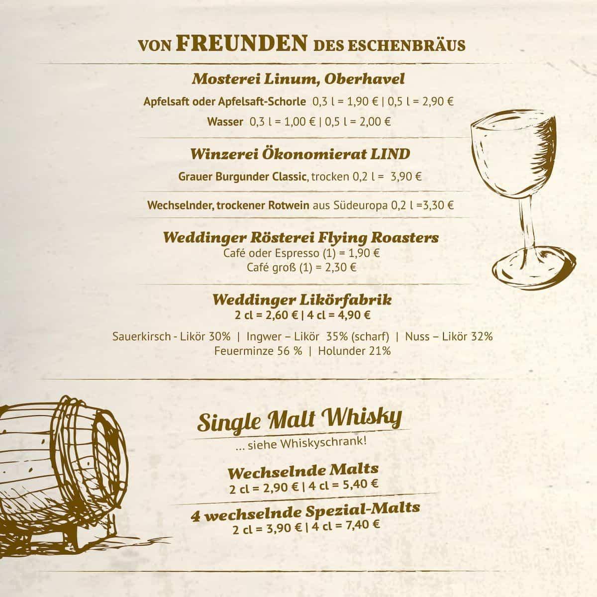Меню пивного ресторана Eschenbrau