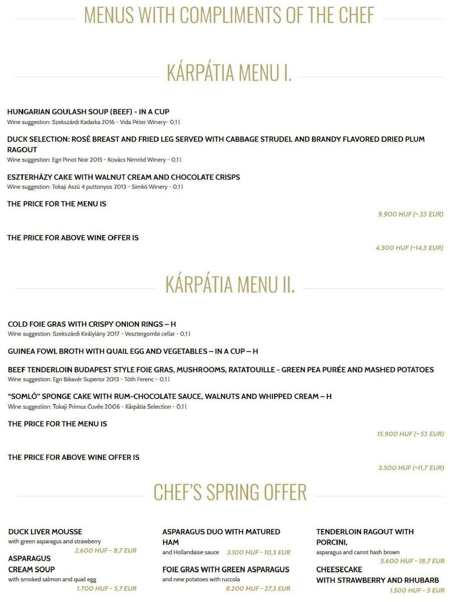 Меню ресторана Kárpátia Restaurant & Brasserie