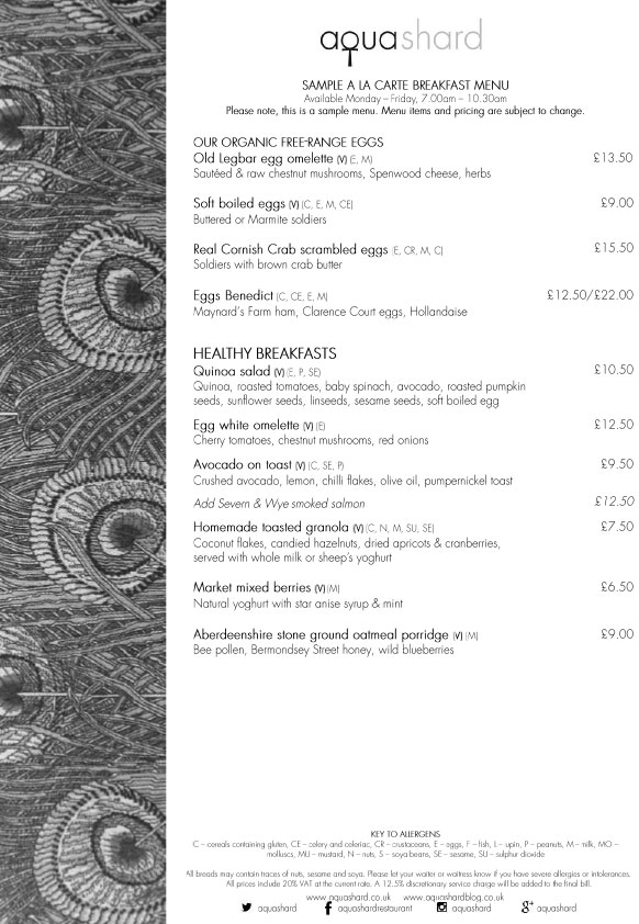 Меню ресторана Aqua Shard завтрак