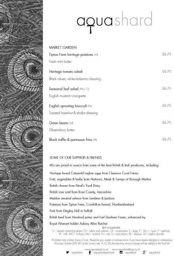 Меню ресторана Aqua Shard обед