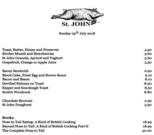 Меню ресторана St. John завтрак