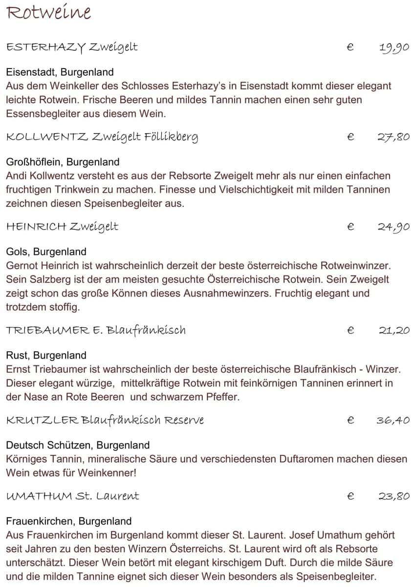 Меню ресторана Stiftskeller