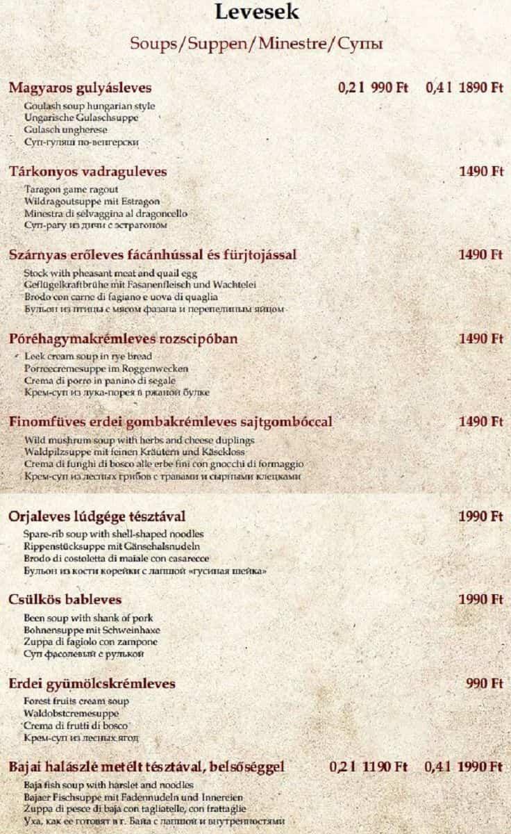 Меню ресторана Százéves