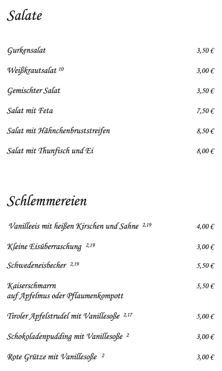 Меню ресторана Zur Haxe