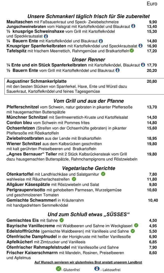 Меню ресторана Augustiner Keller