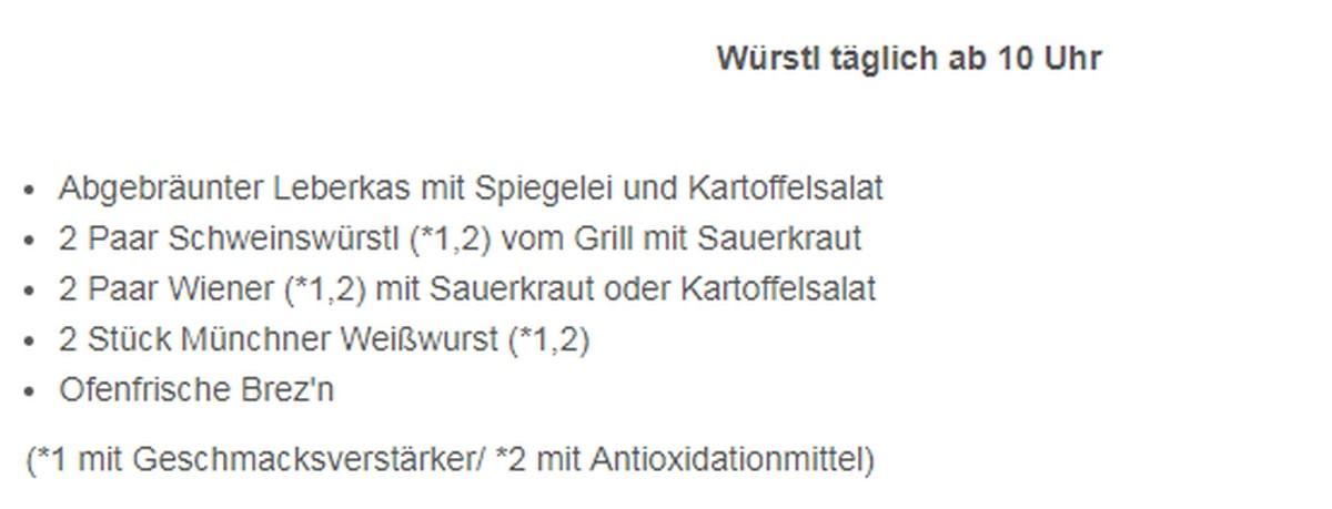 Меню ресторана Koniglicher Hirschgarten