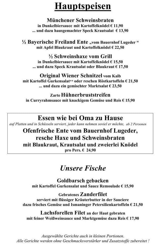 Меню ресторана Paulaner im Tal
