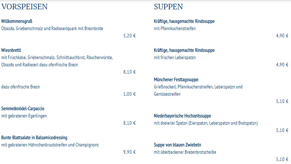 Меню ресторана Schneider Brauhaus