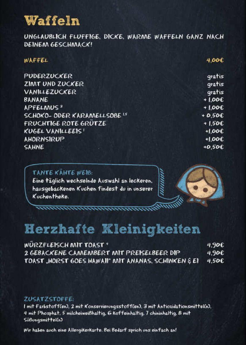 Меню кафе Milchmädchen