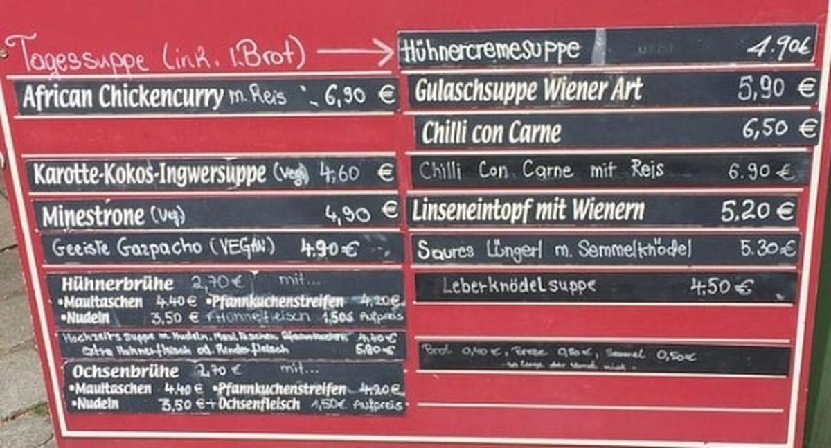 Меню кафе Munchner Suppenkuche
