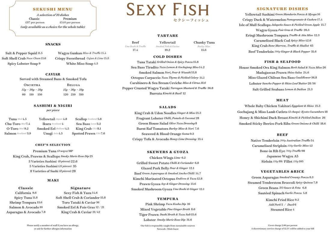Меню ресторана Sexy Fish
