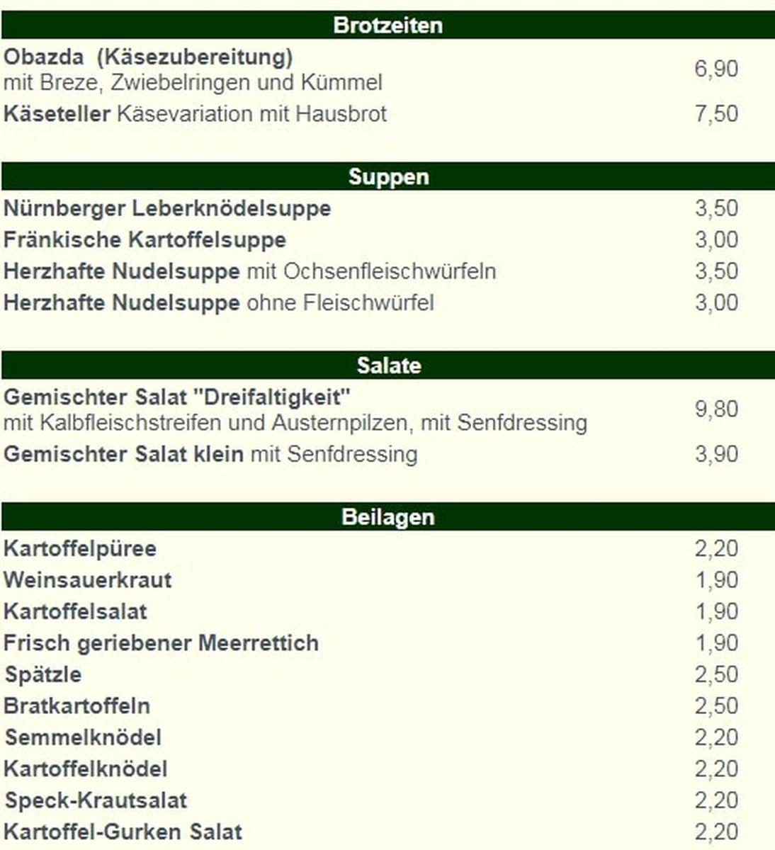 Меню кафе Bratwurstherzl