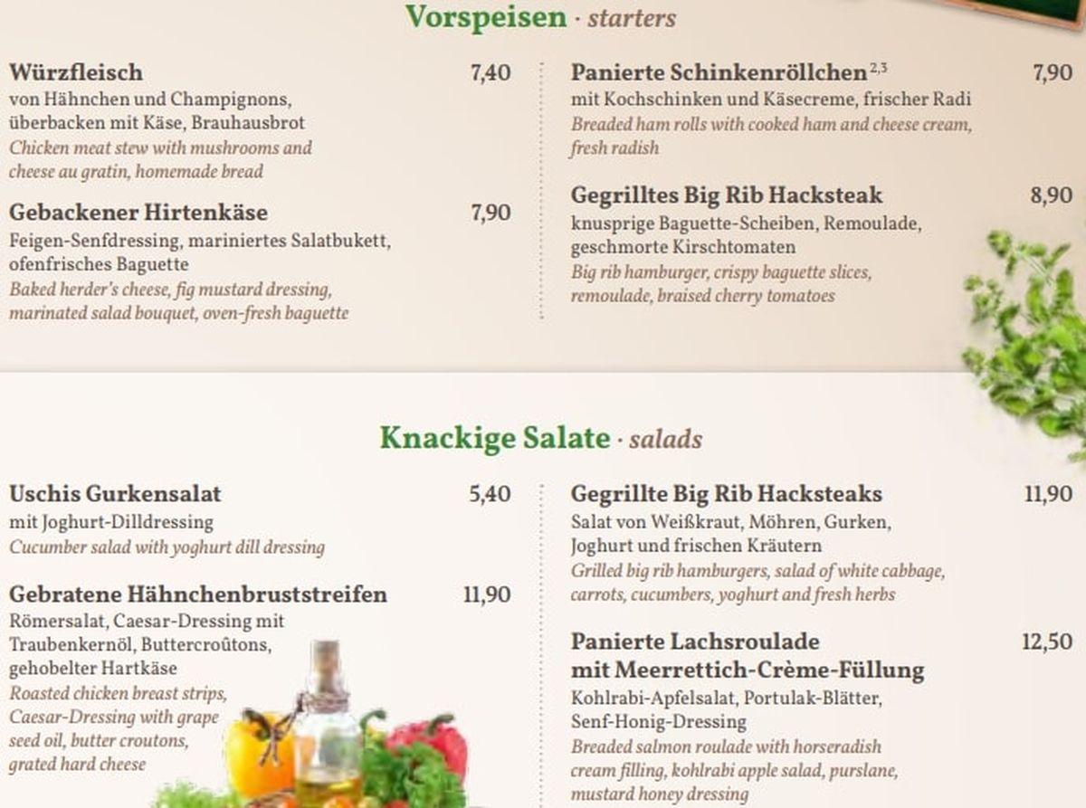 Меню ресторана Brauhaus am Waldschlosschen