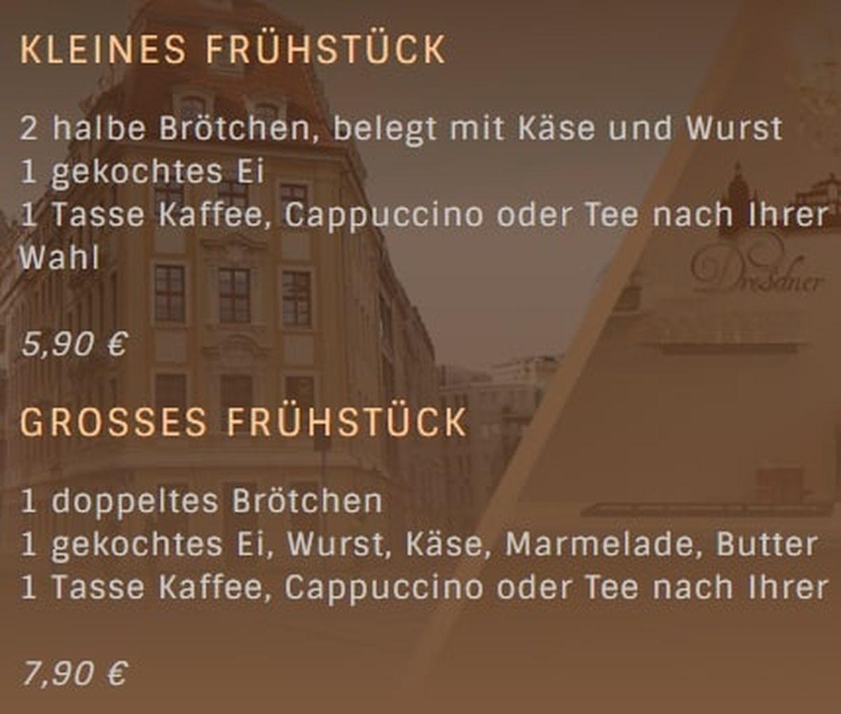 Меню кафе Dresdner Kaffeestuebchen