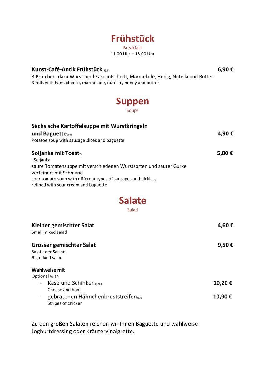 Меню ресторана Kunst Café Antik