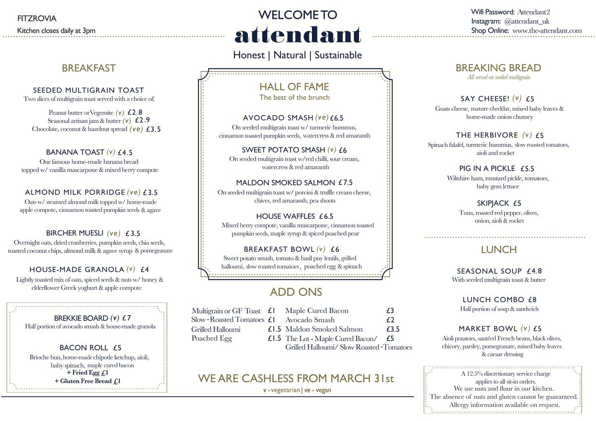 Меню кафе The Attendant
