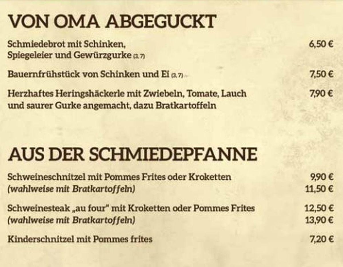 Меню ресторана Zur Schmiede