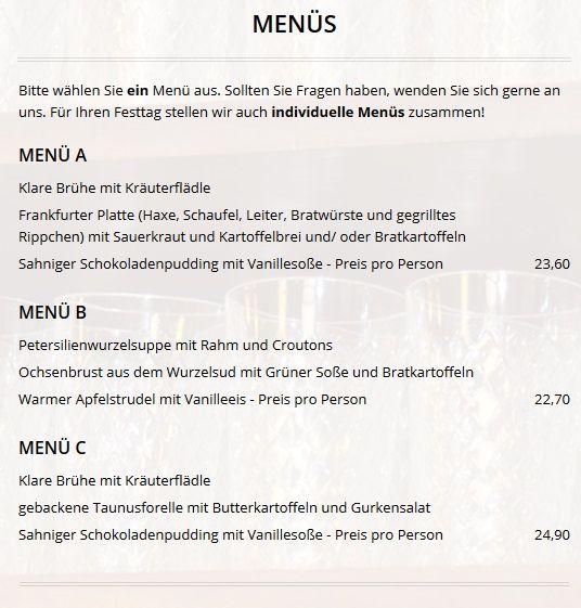 Меню ресторана Apfelwein Wagner