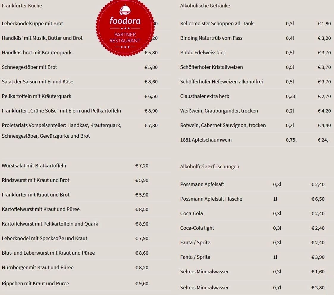 Меню ресторана Apfelweinwirtschaft Proletariat