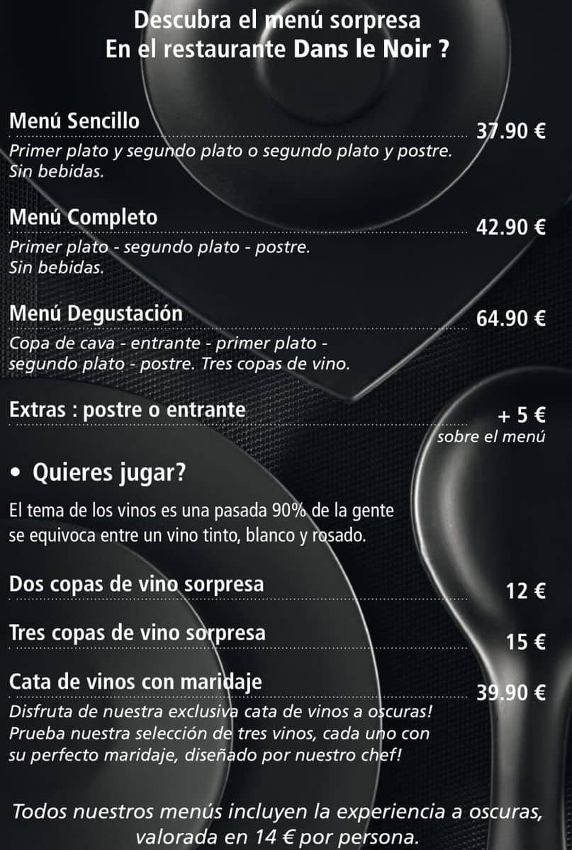 Меню ресторана Dans le Noir