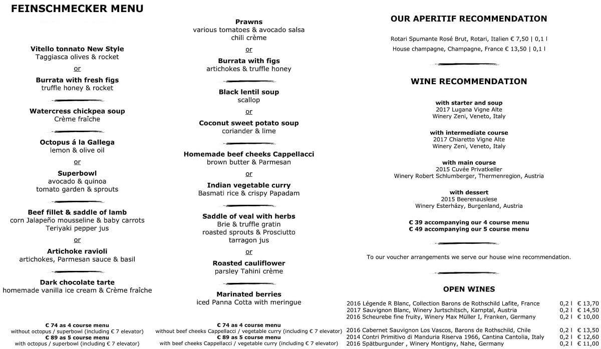 Меню ресторана Restaurant 181
