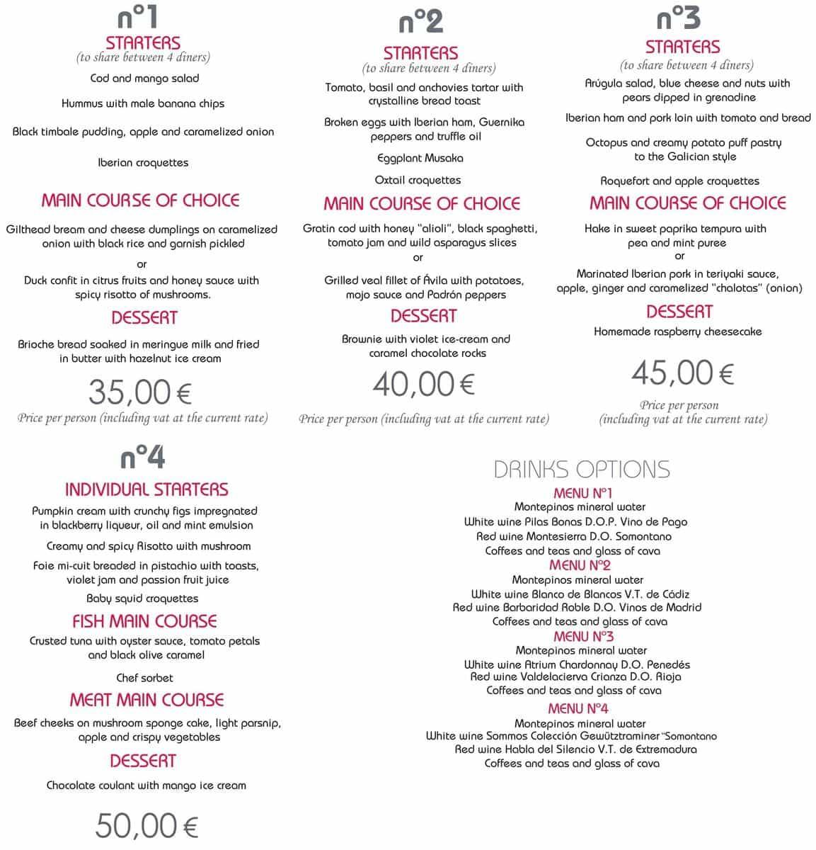 Меню ресторана Ex Libris