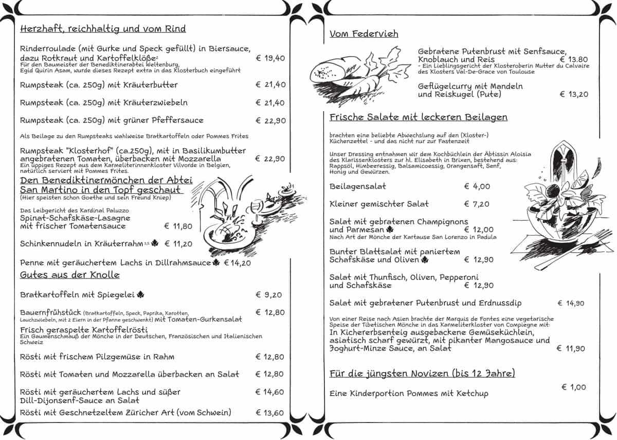 Меню пивного ресторана Klosterhof