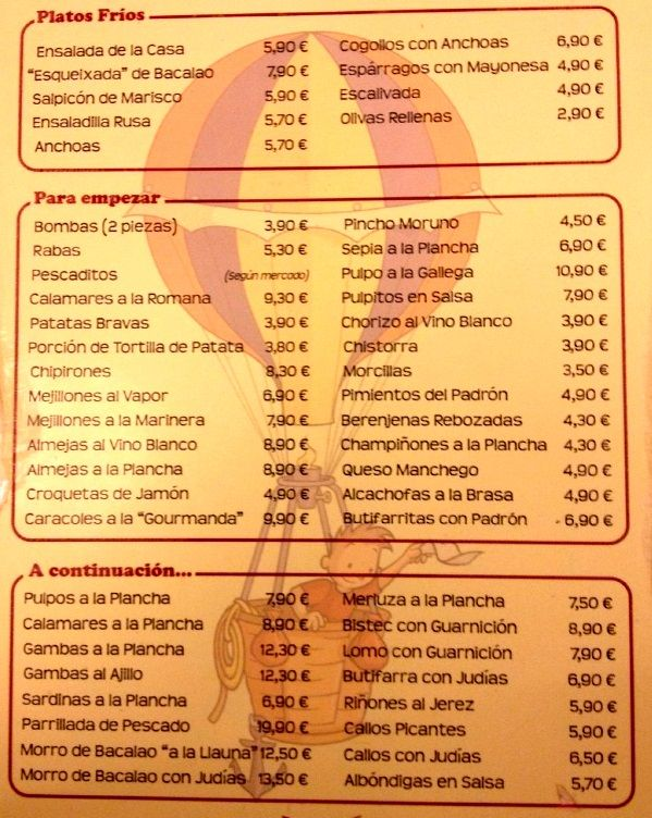 Меню ресторана La Bombeta