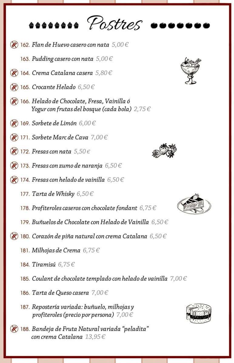 Меню ресторана La Fonda del Port Olimpic