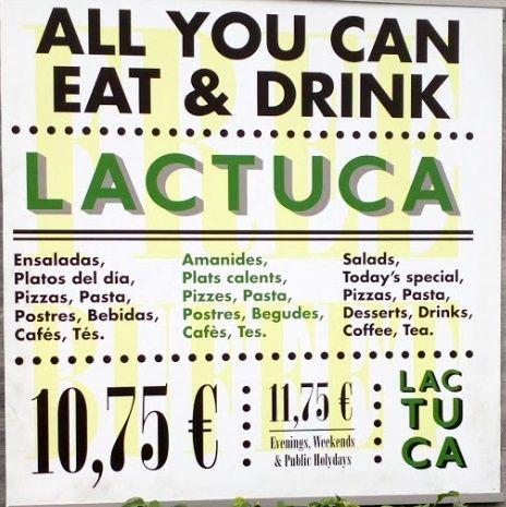 Меню кафе Lactuca Buffet