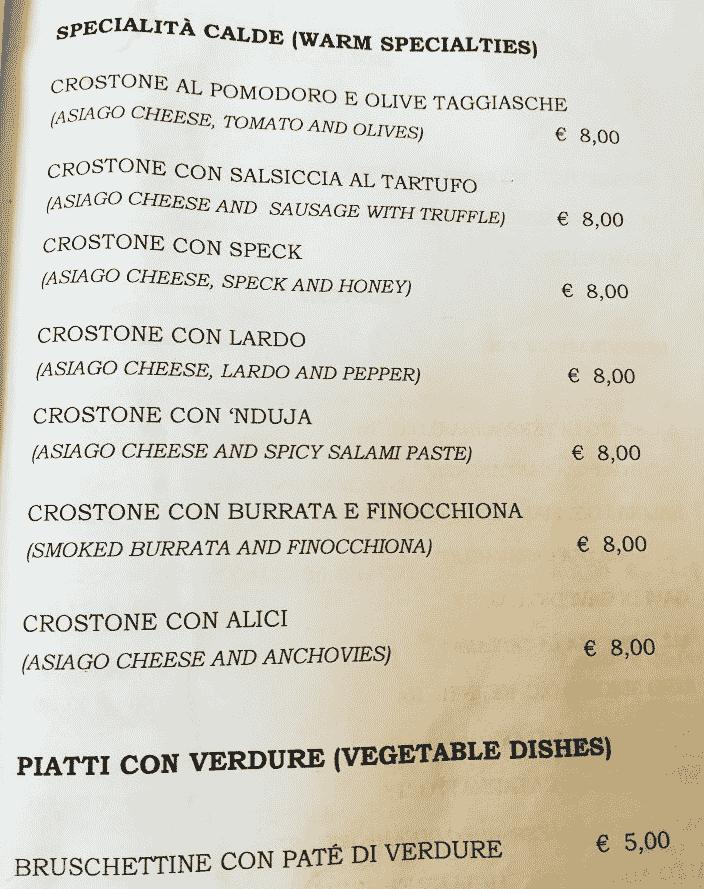 Меню ресторана Le Volpi e L'Uva