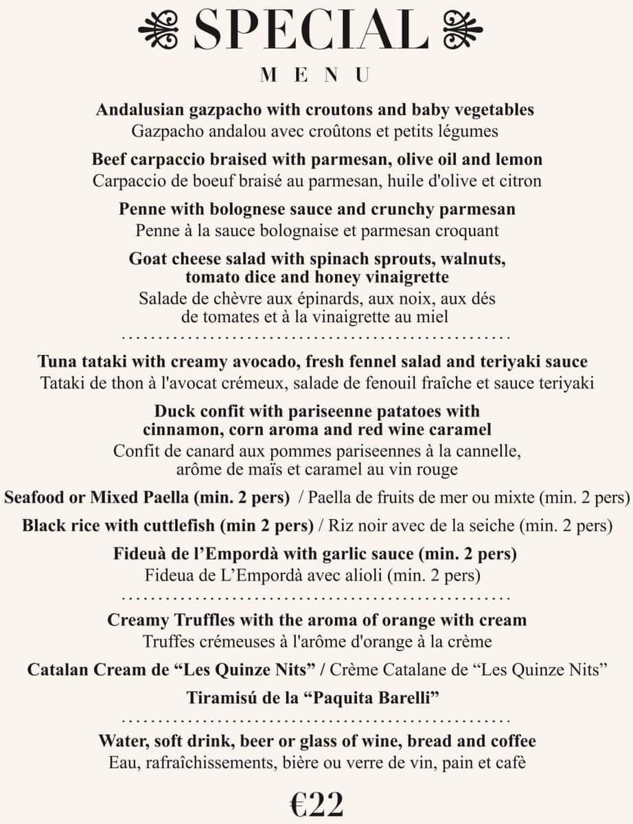 Меню ресторана Les Quinze Nits